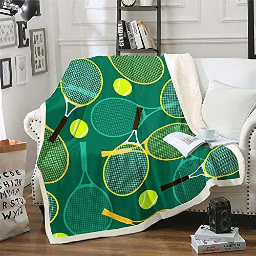 Manta para Sofá de Franela 180x220 cm Raqueta de Tenis, Mantas para Cama 135 Suave y Duradera - Manta Pelo de Franela Grande Transpirable Hipoalérgica para Niños y Adultos