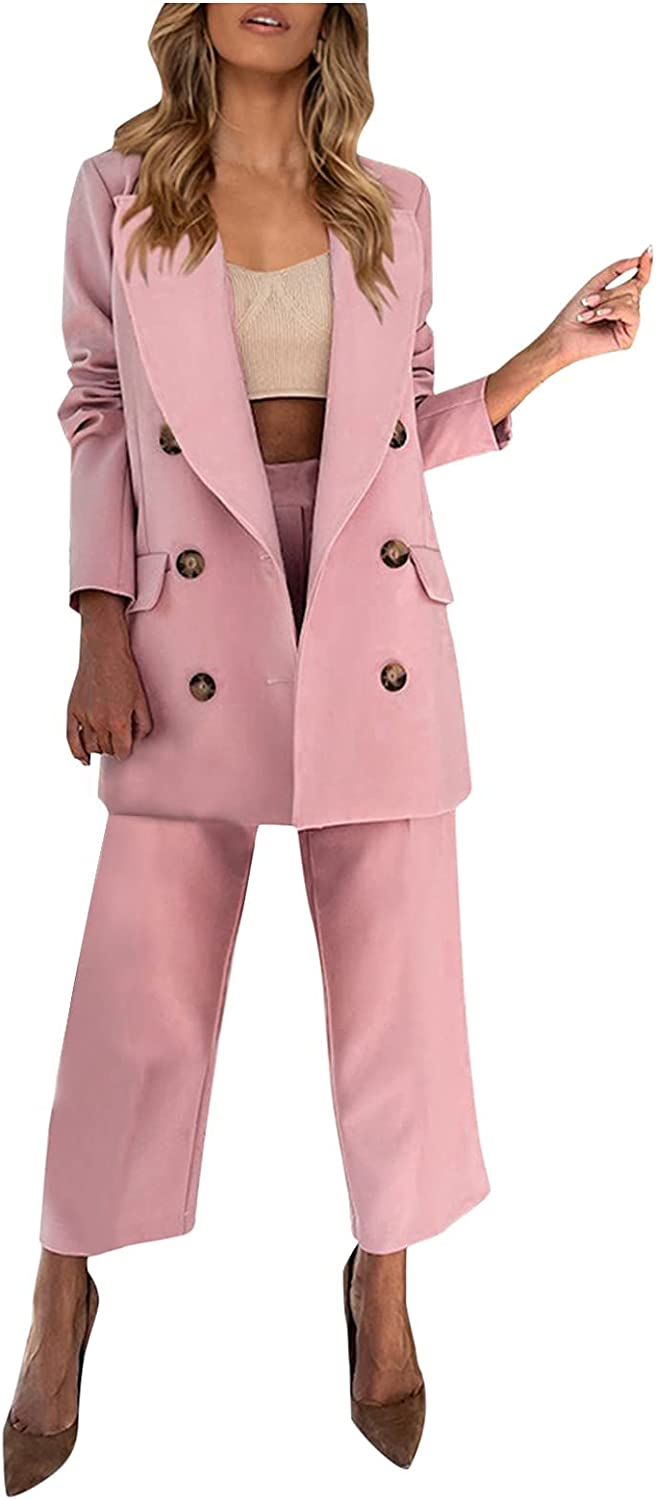 Smileyth Women's Two Piece Outfits Lapel Long Sleeve Double Breasted Suit Jacket Casual Straight Trousers Blazer Set (Pink, S)