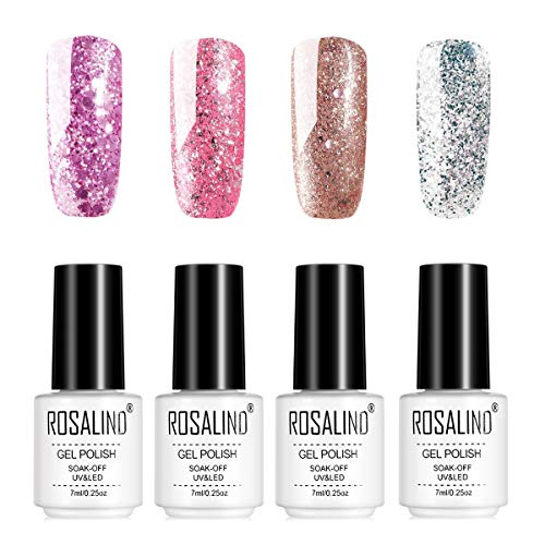 ROSALIND Glitter Rose Gold Uñas Esmalte en gel UV LED Barniz Efecto Brillante Arte Decoración Manicura Pedicura 4 botellas 7 ml
