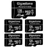 Gigastone マイクロSDカード 128GB Micro SD card SDアダプタ付き U1 C10 90MB/S SDXC 5個セット 4K Ultra HD ビデオ 撮影