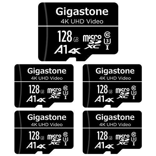 Gigastone 128GB 5-Pack Micro SD Card, 4K UHD Video, Surveillance Security Cam Action Camera Drone Professional, 95MB/s Micro SDXC UHS-I A1 Class 10