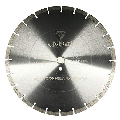 "ALSKAR DIAMOND USA ADLSS 12 inch Dry or Wet Cutting General Purpose Segmented High Speed Diamond Saw Blades for Concrete Stone Brick Masonry with Arbor 1""-20mm (12"")"