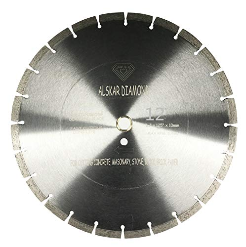 ALSKAR DIAMOND USA ADLSS 12 inch Dry or Wet Cutting General Purpose Segmented High Speed Diamond Saw Blades for Concrete Stone Brick Masonry with Arbor 1'-20mm (12')