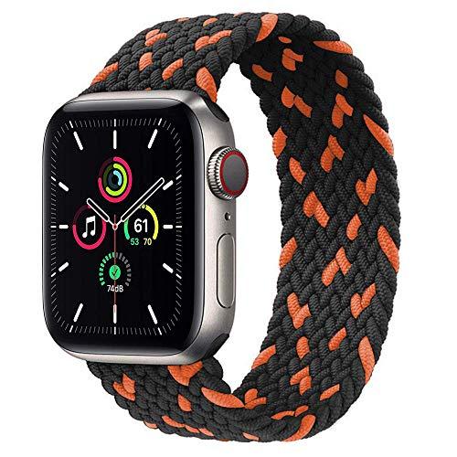 Leishouer Geflochtener Nylon Solo Loop kompatibel mit Apple Watch Armband 44mm 40mm 38mm 42mm Elastisches Nylonarmband für iWatch Serie 6 5 4 3 SE Band, 42mm/44mm-M Schwarz orange