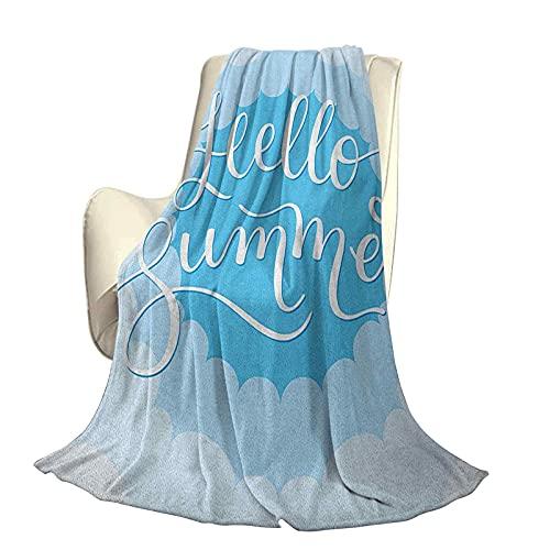 Hello Summer Comfortable Home Series Mantas Tipografía Vintage Nube con Curvas en el Cielo con Tonos de Azul Ligeras para Sala de Estar A60 x L50 Pulgadas Verde Menta Azul Espuma de mar