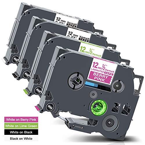Xemax Compatibile Nastro 12mm Sostituzione per Brother P-Touch Tze-MQP35 Tze-MQG35 Tze-231 Tze-335 Cassette per PT-H105 PT-D200 PT-D600VP PT-P750W PT-1000 PT-1010 PT-1230PC Etichettatrice, 4 Pacco