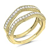 Dazzlingrock Collection 0.45 Carat (ctw) 10K Diamond Wedding Band Millgrain Guard Double Ring 1/2 CT, Yellow Gold, Size 7.5