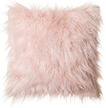 North End Decor Faux Fur 18x18 (Cover Only), Mongolian Long Hair Pink Throw Pillows, 18x18