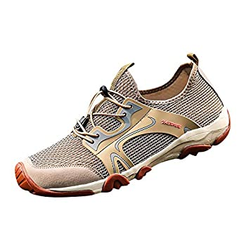 Men s Fashion Retro Outdoor Sneakers Breathable Mesh Running Sport Shoes Boy s Wild Comfortable Casual Hiking Shoes Blue  Khaki 8-Men-US