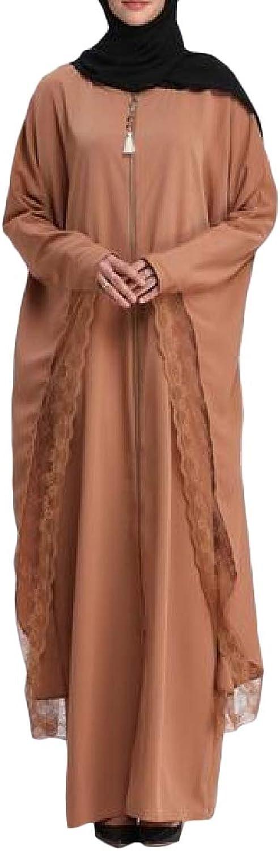 JuJuTa Women Batwing Sleeve Zipper Lace Trim Muslim Abaya Dress