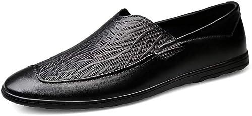EGS-chaussures Mocassins De Conduite pour Hommes Hommes Mocassins Bateau Slip on Surface en Cuir Ox Bas Relief Chaussures Simples Chaussures de Cricket (Couleur   Noir, Taille   38 EU)  vente