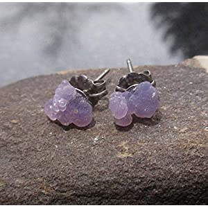 Purple Grape Agate Crystal Studs Titanium Hypoallergenic Boho Earrings