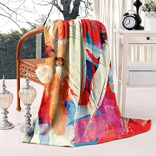 Flannel Fleece Boho Moon Bird Feathers Flowers Throw Blanket Lightweight Warm Soft Microfiber Blankets All Season for Bed Couch Sofa Twin Size 60x80inch,thick Blankets for Winter,Best Winter Gift