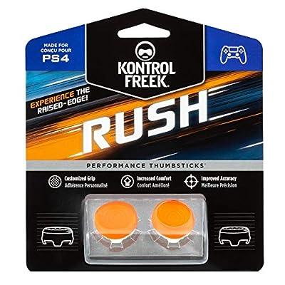 KontrolFreek Rush Performance Thumbsticks for PlayStation 4 (PS4) | Performance Thumbsticks | 2 Mid-Rise, Concave | Orange/White