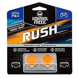 KontrolFreek Rush Performance Thumbsticks for PlayStation 4 (PS4) and PlayStation 5 (PS5)   Performance Thumbsticks   2 Mid-Rise, Concave   Orange/White