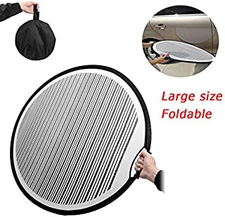 AWEIR 80cm Round Stripe Flexible Foldable PDR Lined Light Reflector Concave Panel Handheld Portable Car Door Scratch and Ice Hail Reflector Tools.