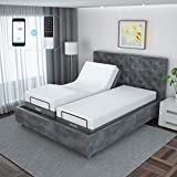 SNODE Adjustable Bed Base Frame (Twin XL Size) - with Massage, Bluetooth Compatible with App, Wireless Remote, Under Lighting, Dual USB Ports, Head and Foot Incline, Easy Assembly