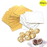 300 Pieces 4 Inch Square Golden Aluminium Foil Candy Wrappers Sugar Wraps Paper for DIY Candies and...