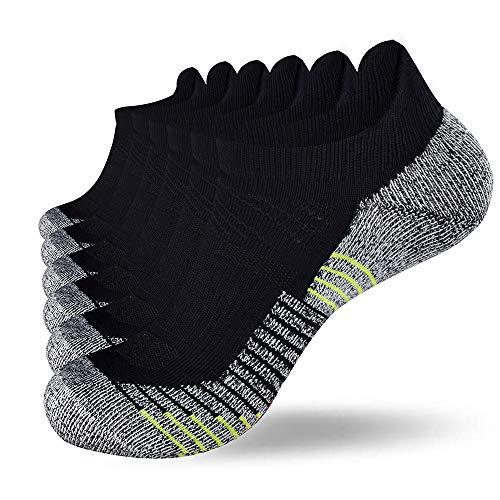 Fioboc Calcetines Deportivos 6 Pares para Hombres & Mujeres Calcetines de Tobillo Corte Bajo Deportivos Compresión Rendimiento Calcetines (Negro, 39-42)