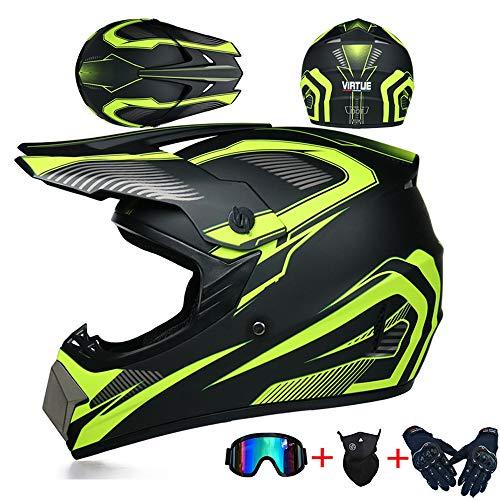 LSLVKEN Moto Quad Enduro 04 Apto para Adultos y ni/ños Casco de Motocross para Motocross Small Guantes de Motocicleta