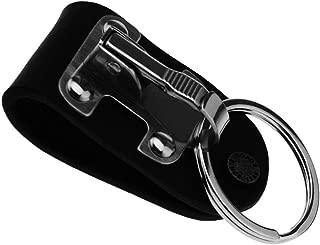 Stainless Steel Black Leather Detachable Key Chain Belt Clip Ring Holder Keyring