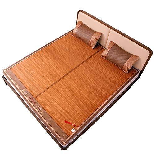 ZHAOHUI-Estera de dormir verano Bambú Paja Cama para Dormir Rota Respirable Plegable Habitación, 5 Estilos, 9 Tallas (Color : A-2x2.2m)