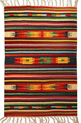 Tappeto Stuoia Passatoia 100% Cotone Kilim Indiano Etnico 6 Disegni 10 Misure ch (Disegno A, 60x280)