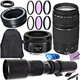 Canon EF 75-300mm f/4-5.6 III & Canon EF 50mm f/1.8 STM Lens Bundle + 500mm f/8.0 MF Lens & EOS R Auto Adapter with HD Filters, Backpack for Canon EOS R Cameras Including EOS R & EOS RP