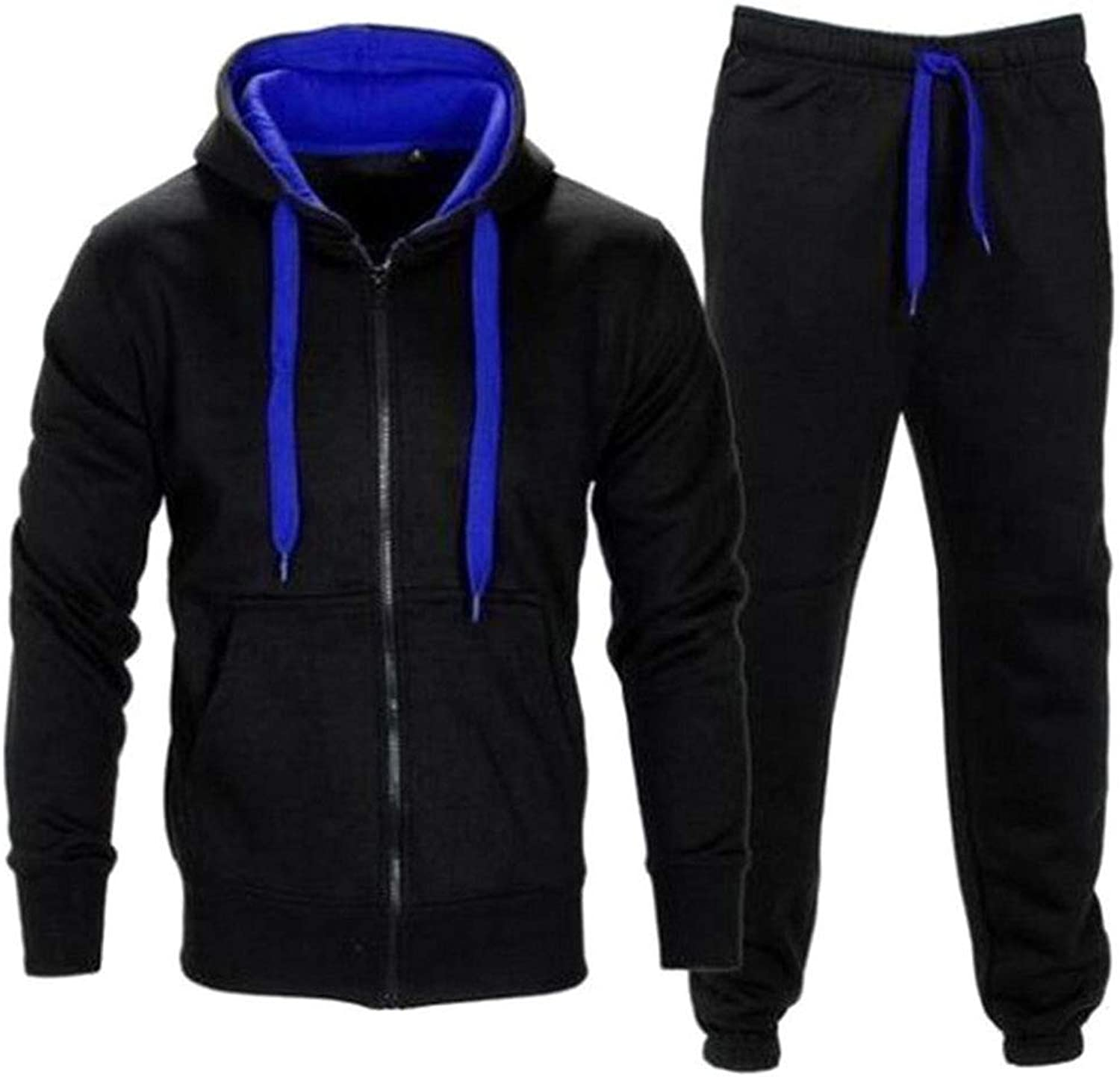 Fashionmy Men's Tracksuits Hoodies 2 Pieces Sweatsuits Hip Hop Sports Outwear Navyred