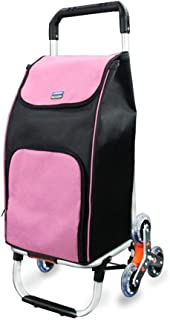 JDFHSD Aluminum Climbing Stairs Shopping Cart Lightweight Shopping Trolley Folding 6 Wheel Shopper,Travel Trolley Bag (Color : Pink)