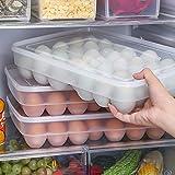 Gemini Mall® Küche Kunststoff Ei Halter Schalen, 34Eier Aufbewahrungsbox, rutschfeste Eier Carrier Container für Kühlschrank Clear - Holds 34 Eggs
