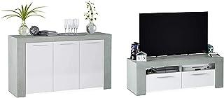 Habitdesign - Aparador Comedor Moderno Buffet Salón Ambit 144x80x42 cm + 016621L Mueble de Comedor Moderno modulo TV S...