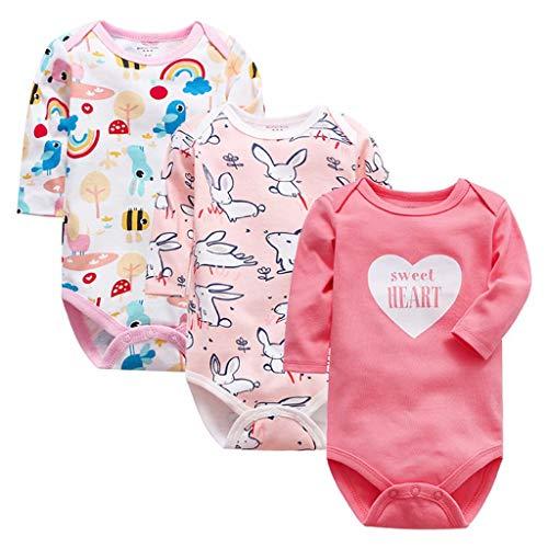 Bebé Body de Manga Larga Pack de 3 Mono Niños Niñas Mameluco Algodón Peleles Pijama Regalo de Recien Nacido, 3-6 Meses