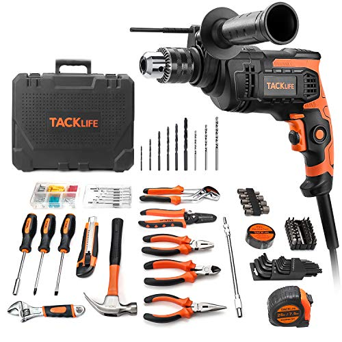 TACKLIFE Tool Set, 145-Piece, Tool Kit for Home with 6.5 Amp Hammer Drill, Professional Hand Tools Set with Solid Carrying Tool Box, for Basic Home Repairing Maintenance Decoration - THTK01A