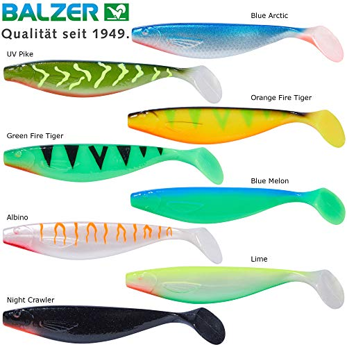 Balzer Shirasu MaJo Booster - Gummifisch für Zander, Hecht & Barsch, Gummishads zum Spinnfischen, Zandershad, Hechtköder, Größe / Gewicht / Farbe:10cm / 7g / Blue Arctic