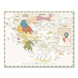 Bunte Griechenland Karte Poster Größe Wanddekoration