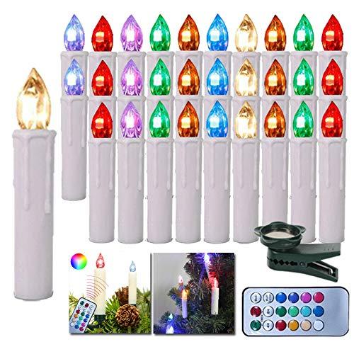 HENGMEI 40er LED Kerzen Weihnachtskerzen kabellos mit Fernbedienung Christbaumkerzen Christbaumbeleuchtung RGB Flammenlose Weihnachtsbeleuchtung für Weihnachtsbaum, Hochzeit, Partys