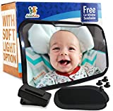Baby Car Mirror For Car Back Seat Full View Infant Monitoring and Road Safety with Dual Mode Remoted-Activated Lighting System and Car Sunshades