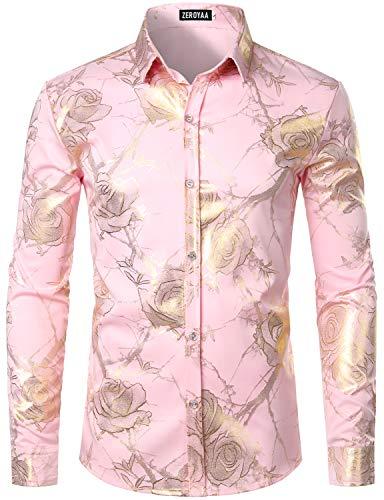 ZEROYAA Men's Nightclub Shiny Golden 3D Rose Flower Printed Slim Fit Button Down Party Dress Shirt ZZCL15 Pink Medium