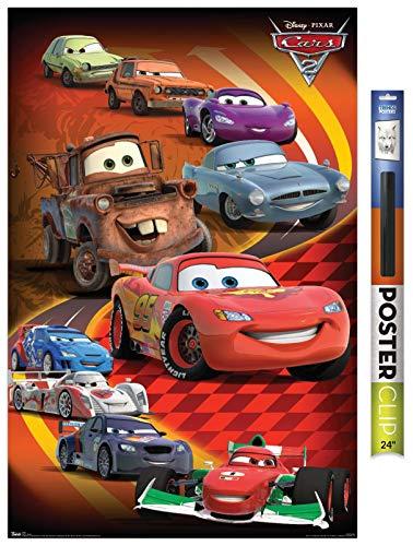 Trends International Disney Pixar Cars 2 - Group Wall Poster, 22.375' x 34', Premium Poster & Clip Bundle