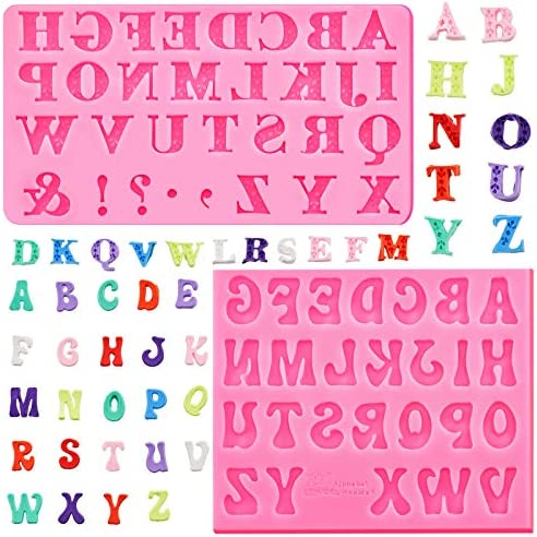 2 Pieces Letter Chocolates Molds Alphabet Silicone Fondant Molds Baking Letter Moulds for Making product image
