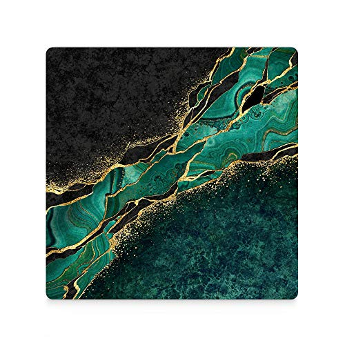 Square Ceramic Stone Coasters for Drink with Cork Base Non-slip Absorbent Coaster Sets for Tabletop Protection,Suitable for Kinds of Cups,Wooden Table Black Marble Green Malachite Background 4pcs