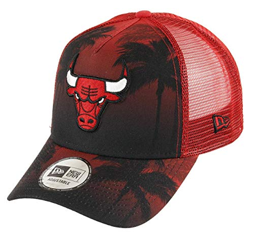 New Era Chicago Bulls A Frame Adjustable Trucker Cap NBA Palm Tree Red/Black - One-Size