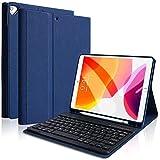 iPad 10.2キーボードケース 第7世代 2019秋発売対応 iPad Air(第3世代)  2017 Pro 10.5 通用 Apple Pencil 収納可能 ワイヤレス Bluetooth キーボードケース 多角度調整 手帳型カバー  (ネイビー)