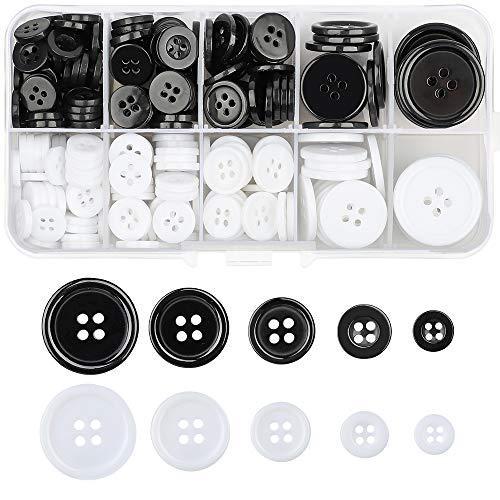 Knöpfe mit vier Ösen, Kunstharz, breite Kante, zum Nähen, Basteln, Nähen und Stricken, 300 Stück (schwarz und weiß)