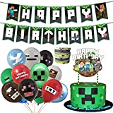 Pixel Miner birthday party supplies,Pixel Miner birthday party decorations for kids with happy birthday banner,cake topper ,balloons, bracelets for Pixel Style Gamer theme birthday party decorations