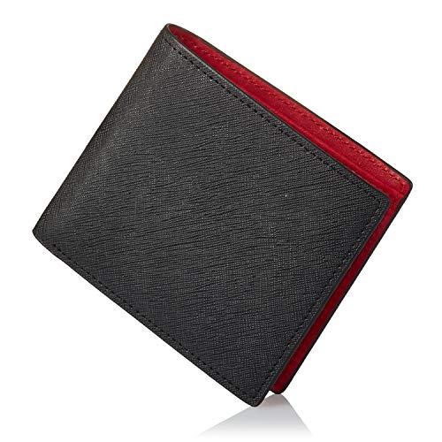 [グレヴィオ] GLEVIO(グレヴィオ) 一流の財布職人が作る 財布 二つ折り財布 小銭入れ付き ブラックxレッド