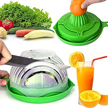 WEBSUN Salad Cutter Bowl with Lemon Squeezer 60 Second Salad Maker, Easy Speed Salad Maker Fruit Vegetable Cutter Bowl Fast Fresh Salad Slicer