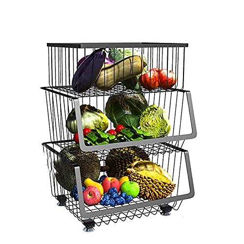 Küchenregal Regal Küche Obst-Gemüse-Regalständer Standregal Halterung Halter Ebenen Erweiterbares Organizer Haken Rack Ablage Tischorganizer Küchengeräte Arbeitsplatte Stufiges (Size : 3 Layer)