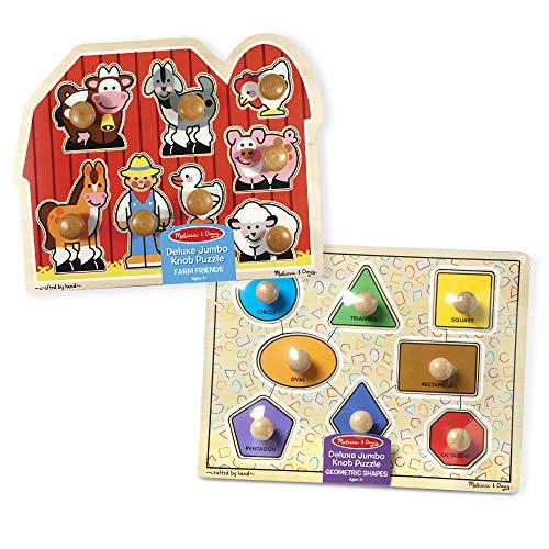 Melissa & Doug Jumbo Knob Puzzles - Shapes and Farm Animals